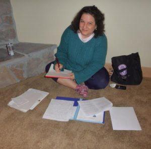 MarilynBrantDesk---writing-on-floor