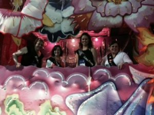 Authors on a float