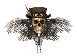 22165813 - a steampunk skull isolated on white - 3d render.