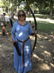 Debra with her mongoolian horse bow